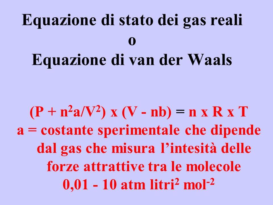 Equazione di stato dei gas reali o Equazione di van der Waals