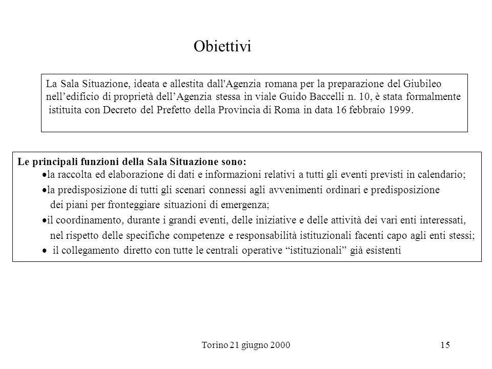 Obiettivi La Sala Situazione, ideata e allestita dall Agenzia romana per la preparazione del Giubileo.