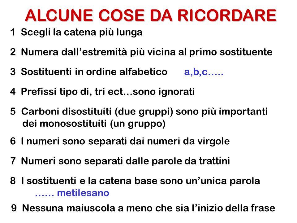 ALCUNE COSE DA RICORDARE