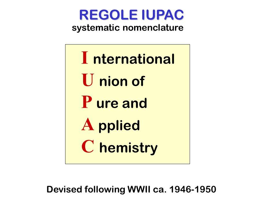 I nternational U nion of P ure and A pplied C hemistry REGOLE IUPAC