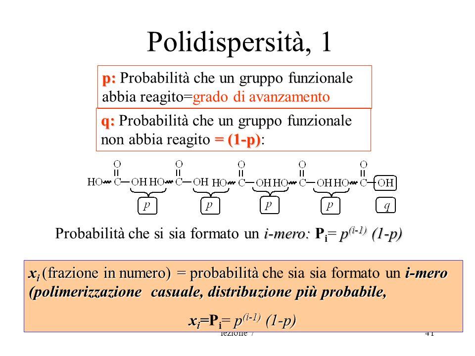 Polidispersità, 1p: Probabilità che un gruppo funzionale abbia reagito=grado di avanzamento.