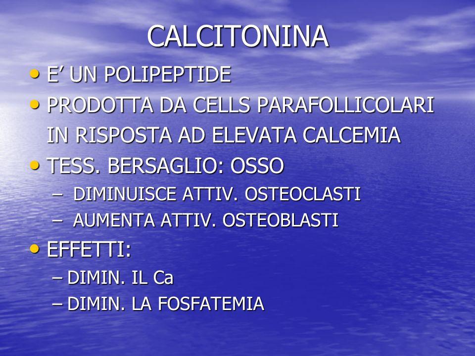 CALCITONINA E' UN POLIPEPTIDE PRODOTTA DA CELLS PARAFOLLICOLARI