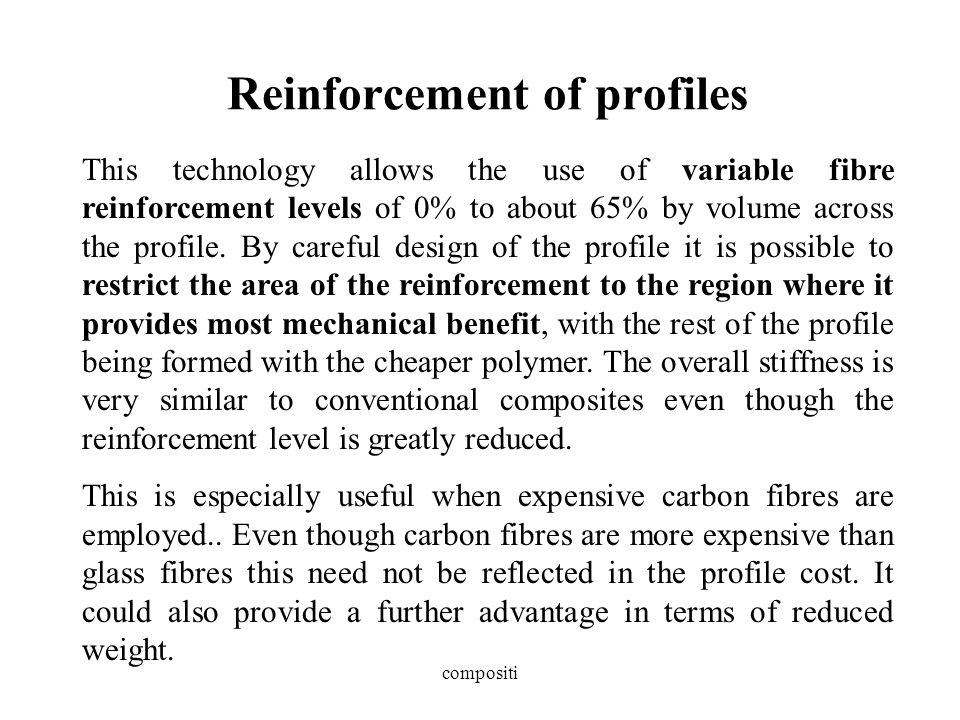 Reinforcement of profiles