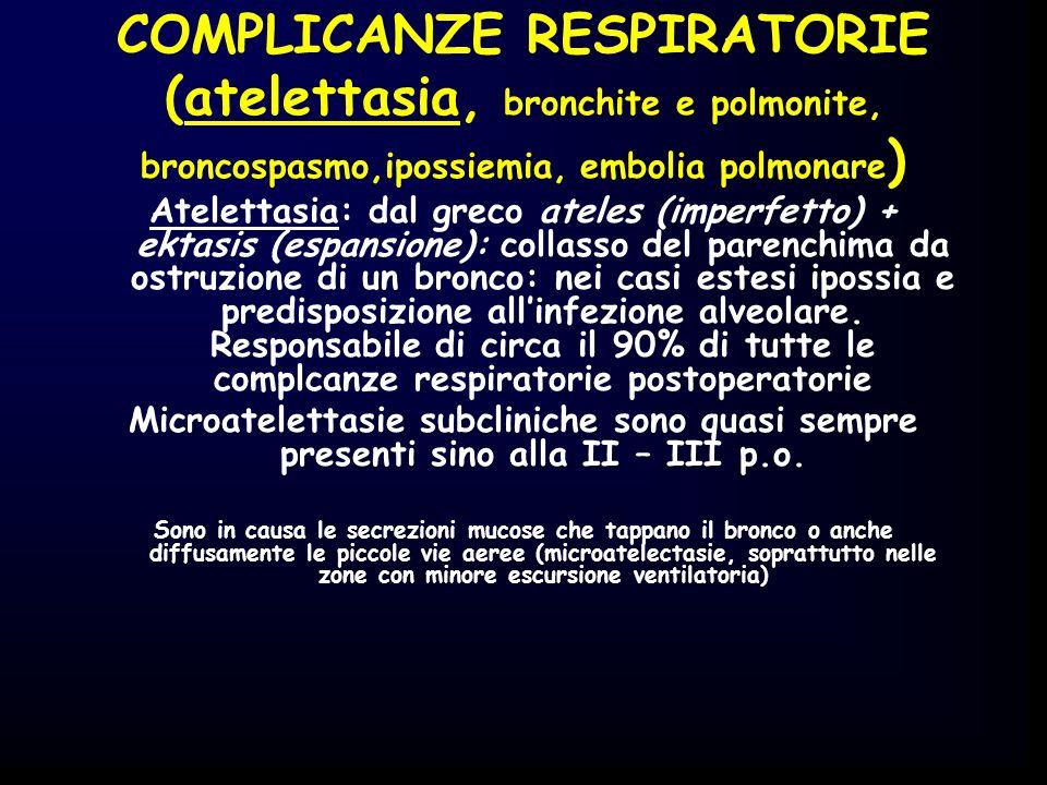 COMPLICANZE RESPIRATORIE (atelettasia, bronchite e polmonite, broncospasmo,ipossiemia, embolia polmonare)