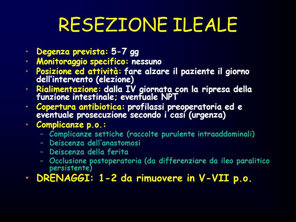 RESEZIONE ILEALE DRENAGGI: 1-2 da rimuovere in V-VII p.o.