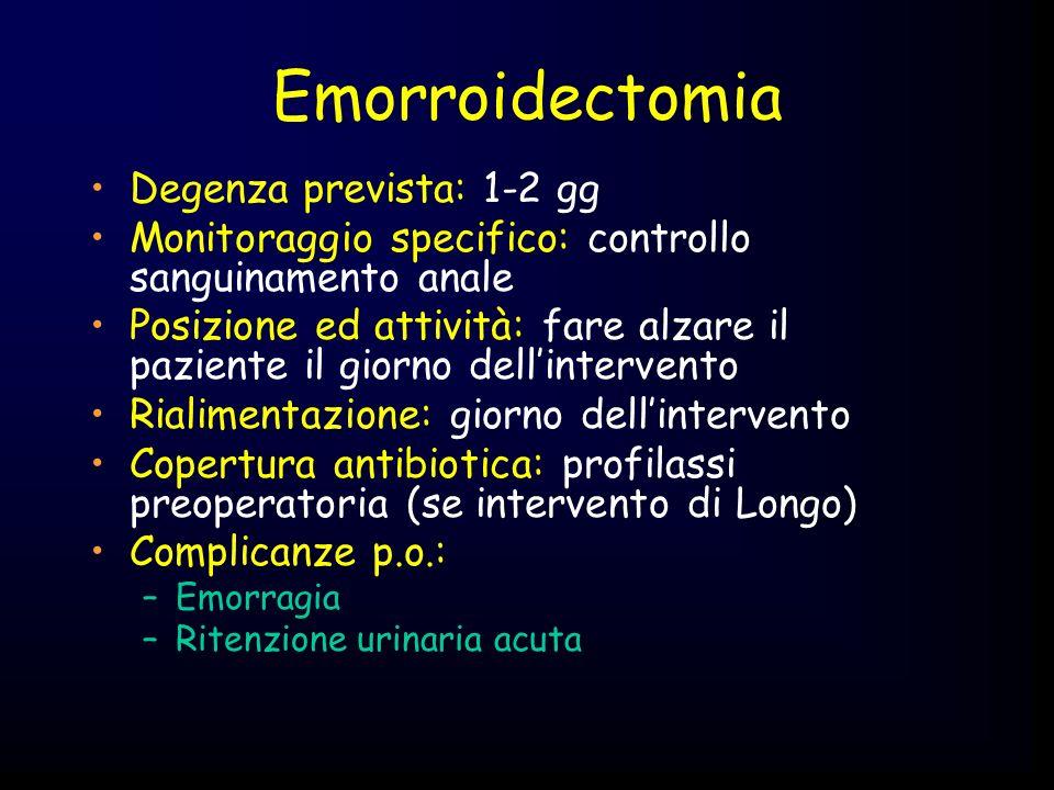 Emorroidectomia Degenza prevista: 1-2 gg