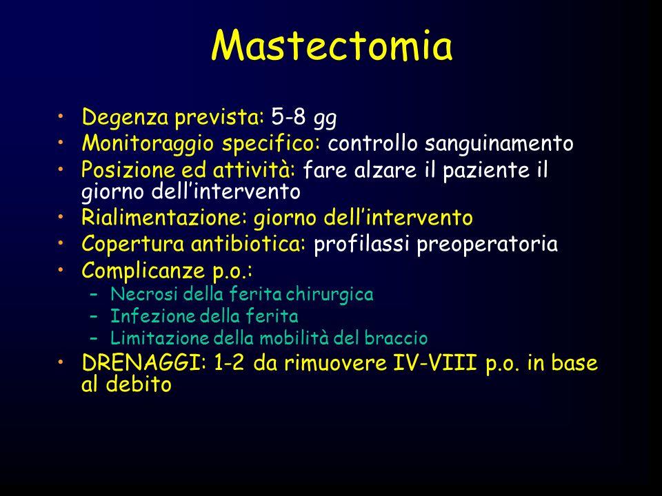 Mastectomia Degenza prevista: 5-8 gg