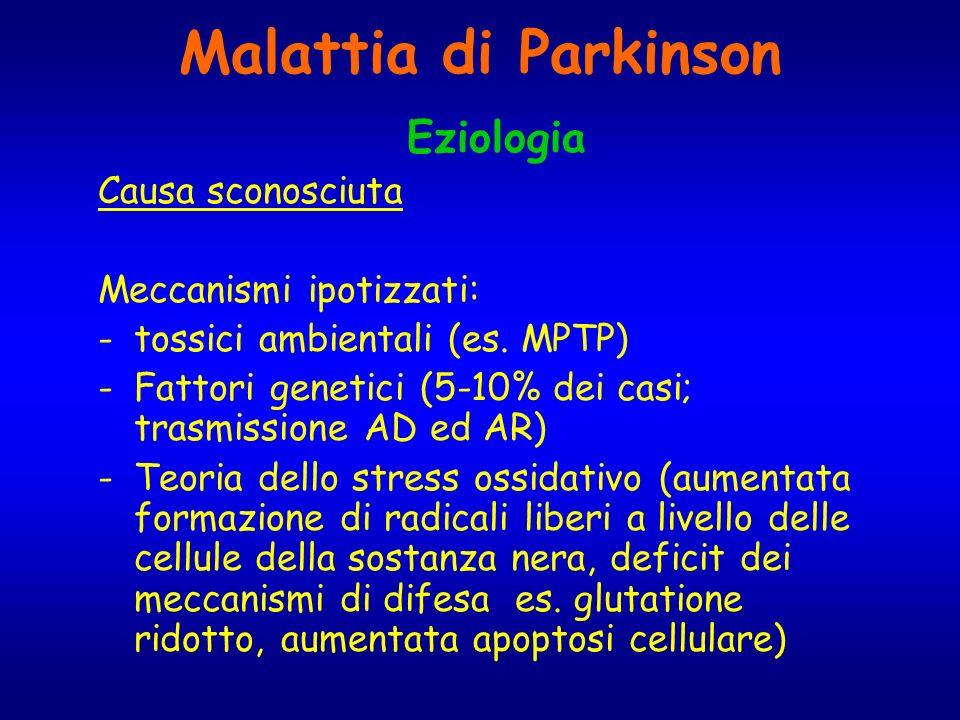 Malattia di Parkinson Eziologia Causa sconosciuta