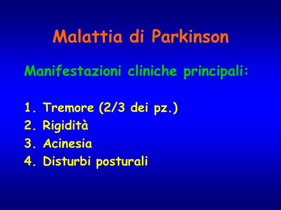 Malattia di Parkinson Manifestazioni cliniche principali: