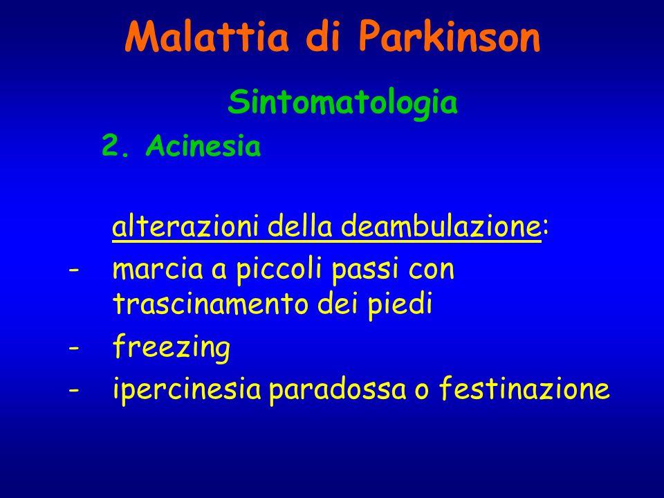Malattia di Parkinson Sintomatologia 2. Acinesia