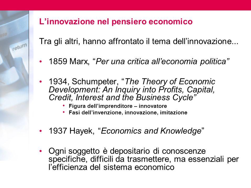 L'innovazione nel pensiero economico
