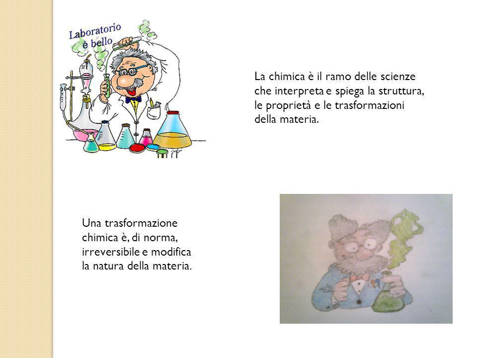 La chimica è il ramo delle scienze che interpreta e spiega la struttura, le proprietà e le trasformazioni della materia.