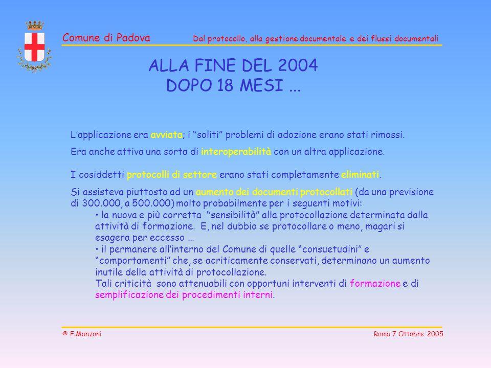ALLA FINE DEL 2004 DOPO 18 MESI ... L'applicazione era avviata; i soliti problemi di adozione erano stati rimossi.