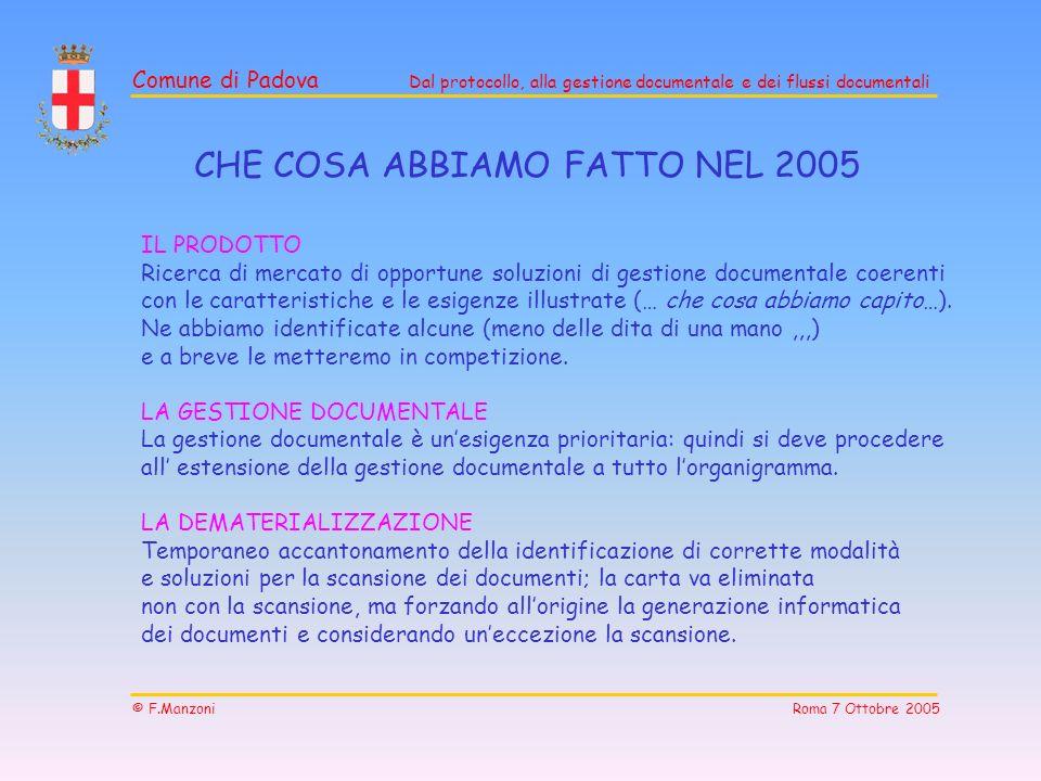 CHE COSA ABBIAMO FATTO NEL 2005