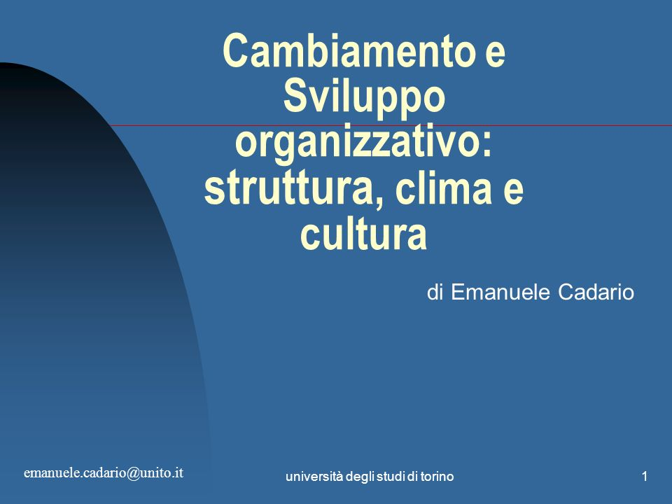 Cambiamento e Sviluppo organizzativo: struttura, clima e cultura