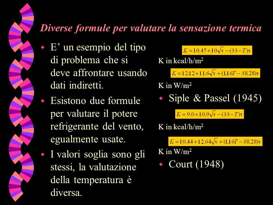 Diverse formule per valutare la sensazione termica