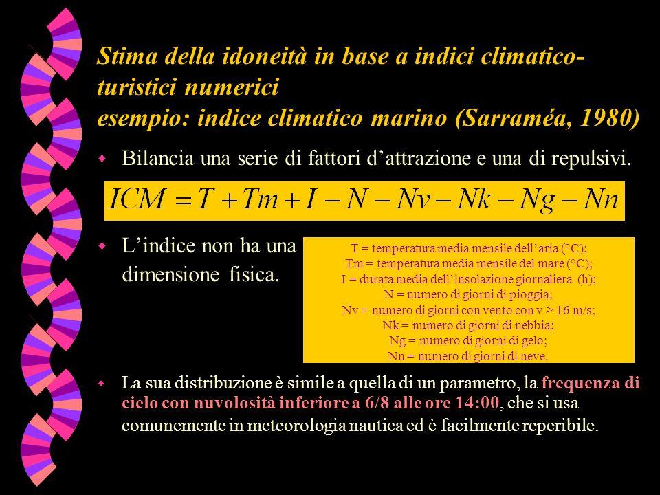 Stima della idoneità in base a indici climatico-turistici numerici esempio: indice climatico marino (Sarraméa, 1980)