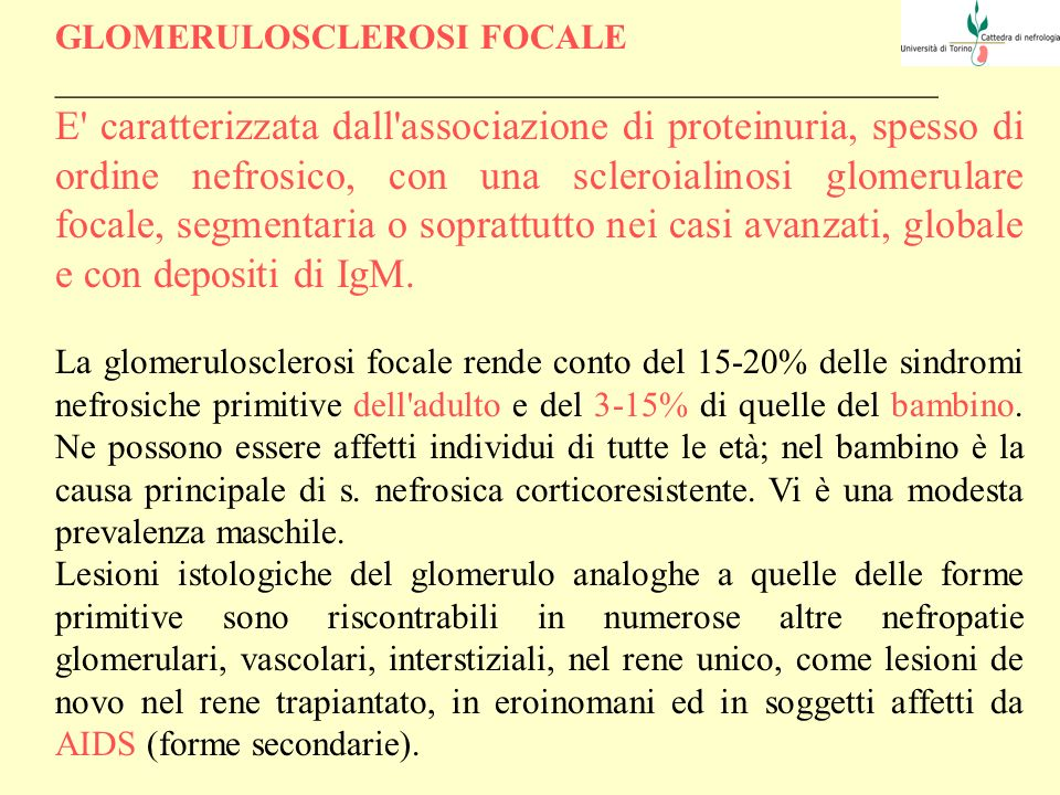 GLOMERULOSCLEROSI FOCALE