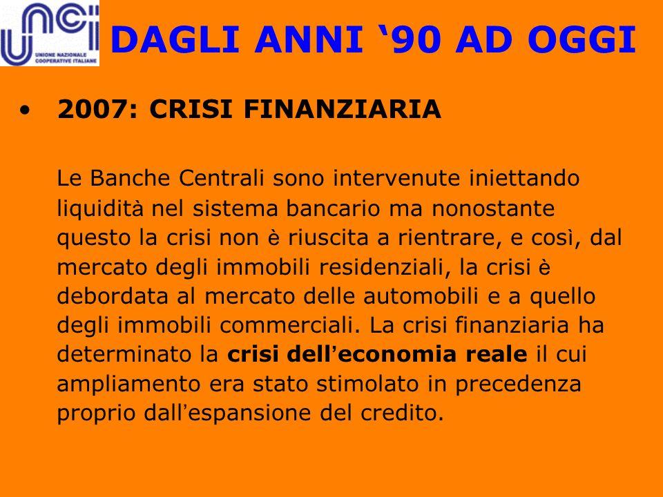 DAGLI ANNI '90 AD OGGI 2007: CRISI FINANZIARIA