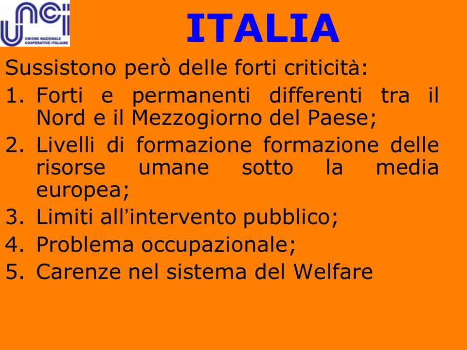ITALIA Sussistono però delle forti criticità: