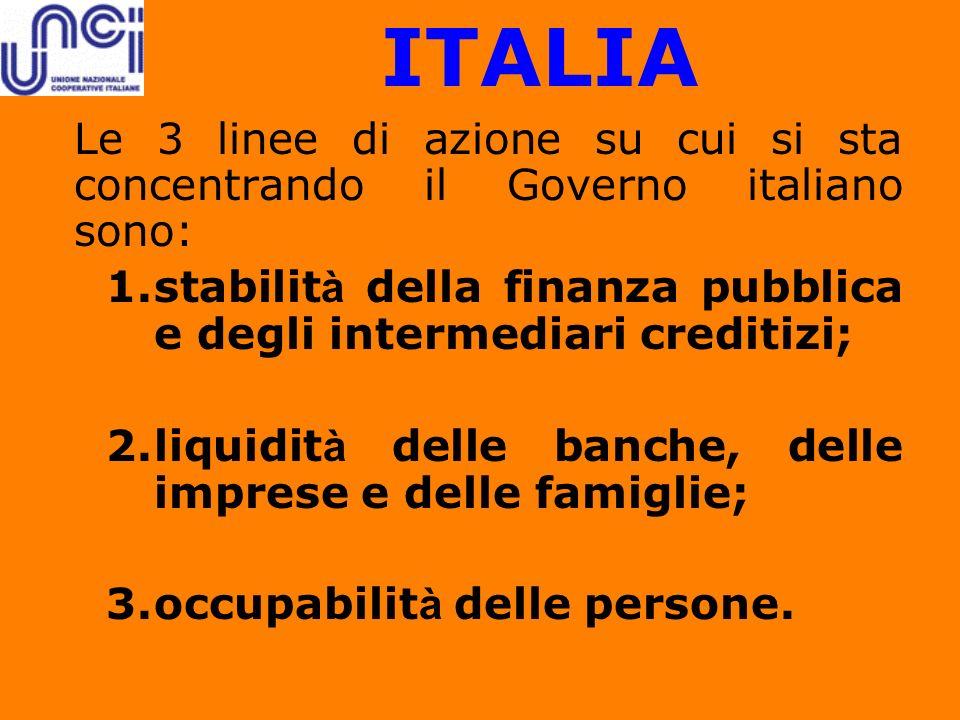 ITALIA Le 3 linee di azione su cui si sta concentrando il Governo italiano sono: stabilità della finanza pubblica e degli intermediari creditizi;