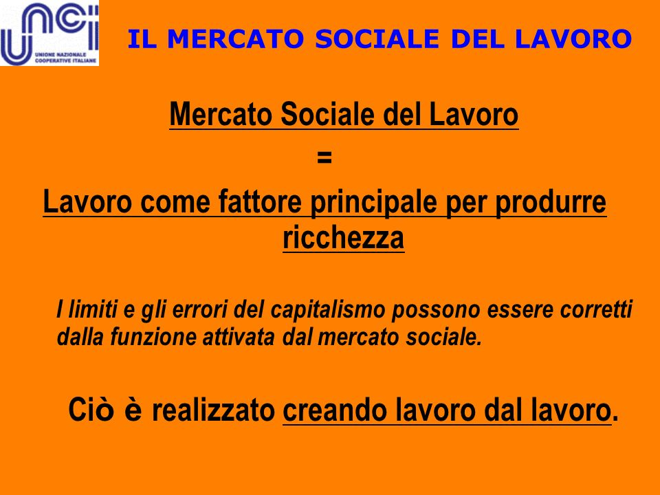 IL MERCATO SOCIALE DEL LAVORO