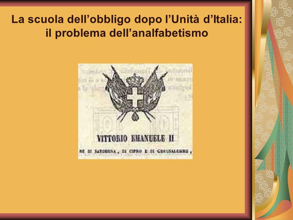 La scuola dell'obbligo dopo l'Unità d'Italia: il problema dell'analfabetismo