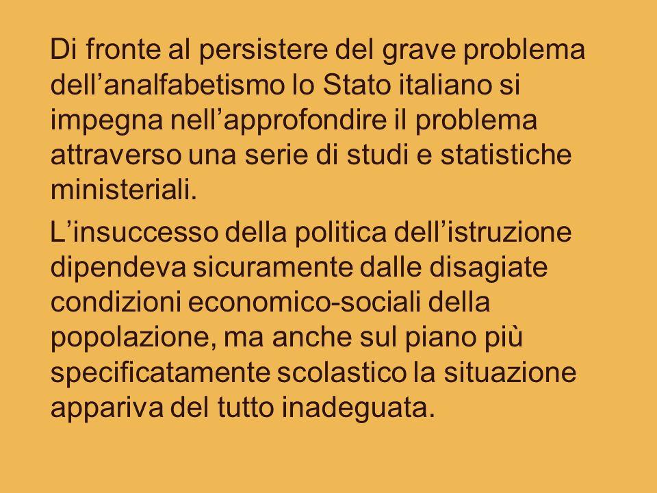 Di fronte al persistere del grave problema dell'analfabetismo lo Stato italiano si impegna nell'approfondire il problema attraverso una serie di studi e statistiche ministeriali.