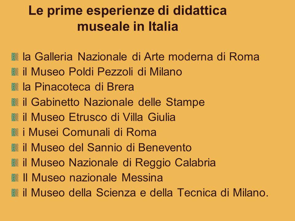 Le prime esperienze di didattica museale in Italia