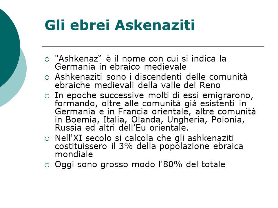 Gli ebrei Askenaziti Ashkenaz è il nome con cui si indica la Germania in ebraico medievale.