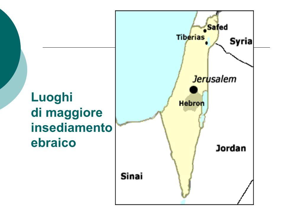 Luoghi di maggiore insediamento ebraico