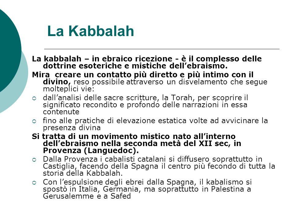 La Kabbalah La kabbalah – in ebraico ricezione - è il complesso delle dottrine esoteriche e mistiche dell'ebraismo.