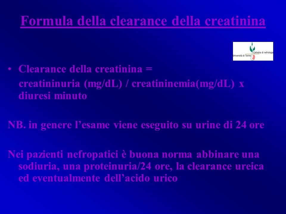 Formula della clearance della creatinina