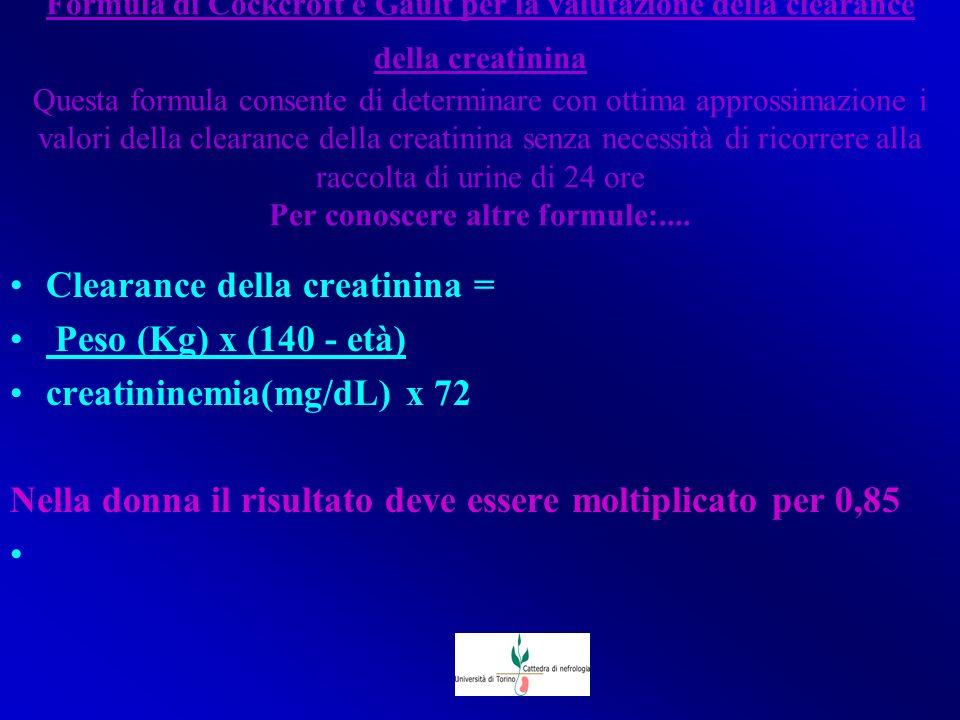 Clearance della creatinina = Peso (Kg) x (140 - età)