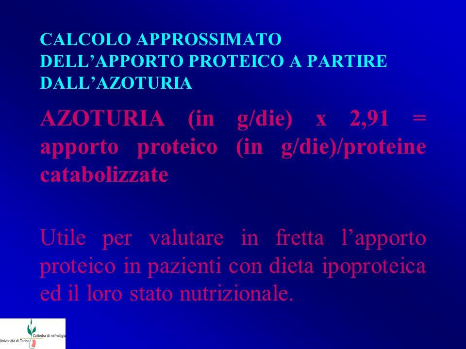CALCOLO APPROSSIMATO DELL'APPORTO PROTEICO A PARTIRE DALL'AZOTURIA