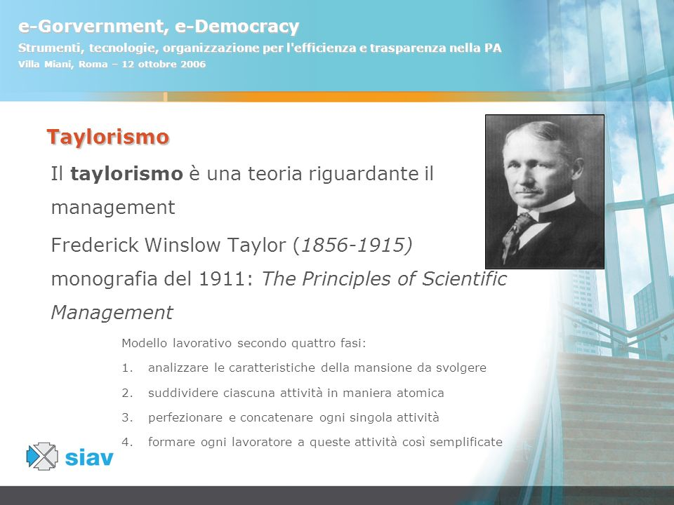 Taylorismo Il taylorismo è una teoria riguardante il management
