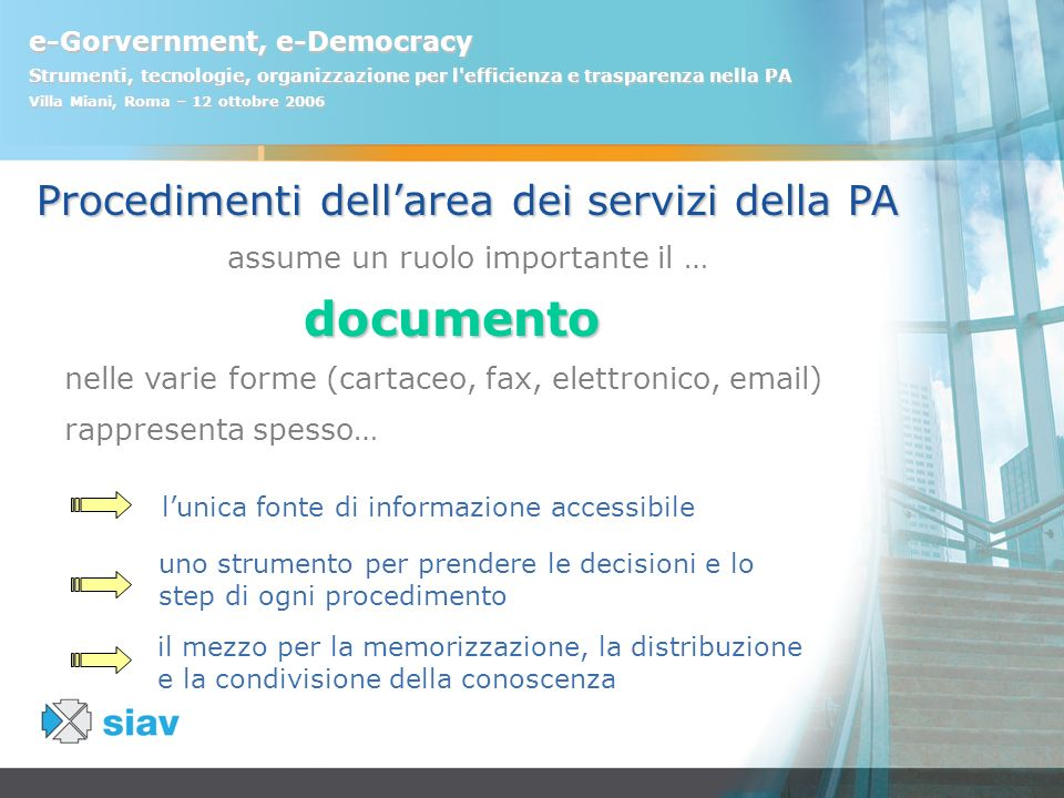 documento Procedimenti dell'area dei servizi della PA