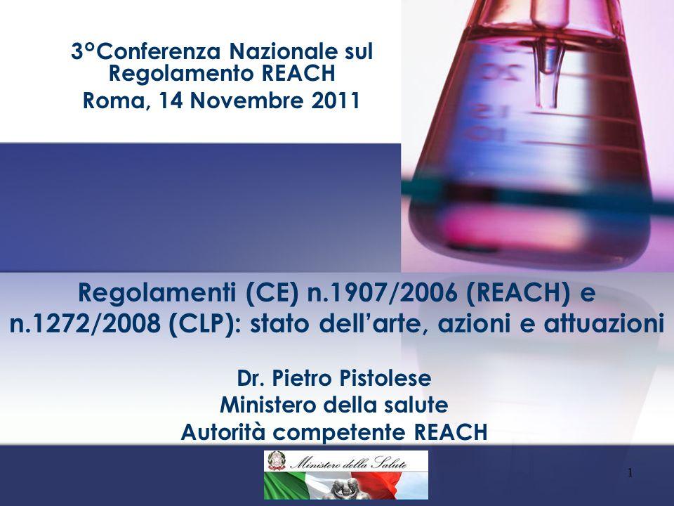 Dr. Pietro Pistolese Ministero della salute Autorità competente REACH