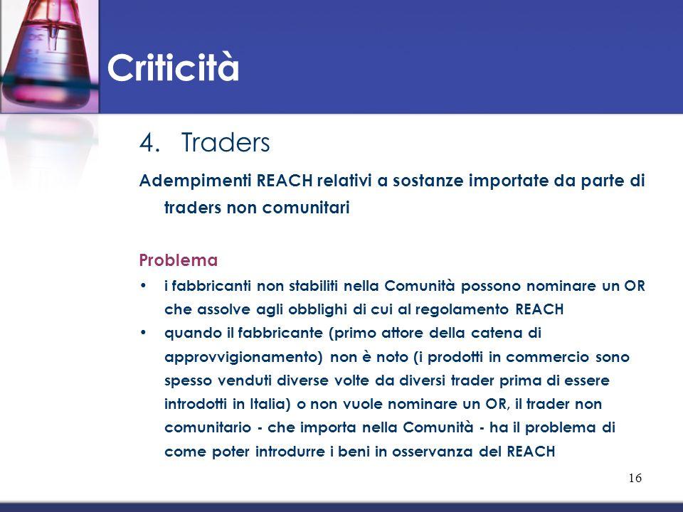 Criticità Traders. Adempimenti REACH relativi a sostanze importate da parte di traders non comunitari.