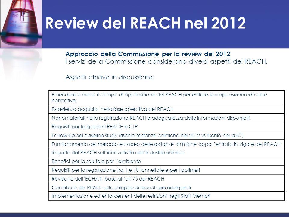Review del REACH nel 2012 Approccio della Commissione per la review del 2012. I servizi della Commissione considerano diversi aspetti del REACH.