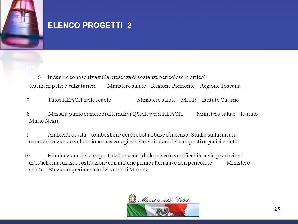 ELENCO PROGETTI 2 ESEMPI ESPLICATIVI 1. 6 Indagine conoscitiva sulla presenza di sostanze pericolose in articoli.