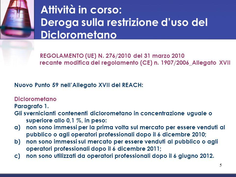 Deroga sulla restrizione d'uso del Diclorometano
