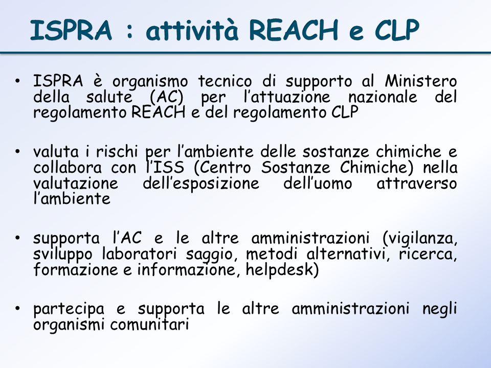 ISPRA : attività REACH e CLP
