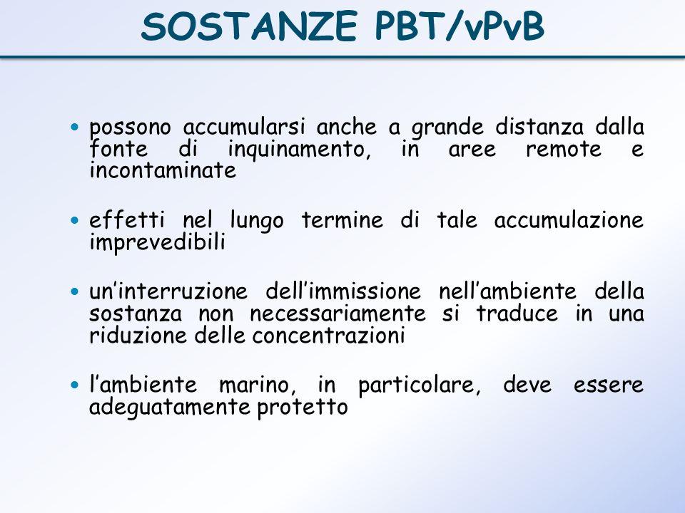 SOSTANZE PBT/vPvBpossono accumularsi anche a grande distanza dalla fonte di inquinamento, in aree remote e incontaminate.