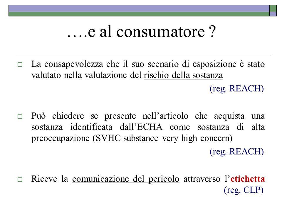 ….e al consumatore La consapevolezza che il suo scenario di esposizione è stato valutato nella valutazione del rischio della sostanza.
