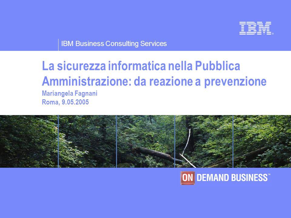 La sicurezza informatica nella Pubblica Amministrazione: da reazione a prevenzione Mariangela Fagnani Roma, 9.05.2005