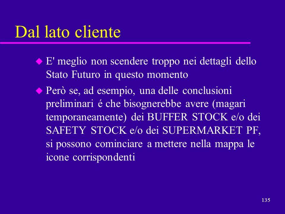Dal lato clienteE meglio non scendere troppo nei dettagli dello Stato Futuro in questo momento.