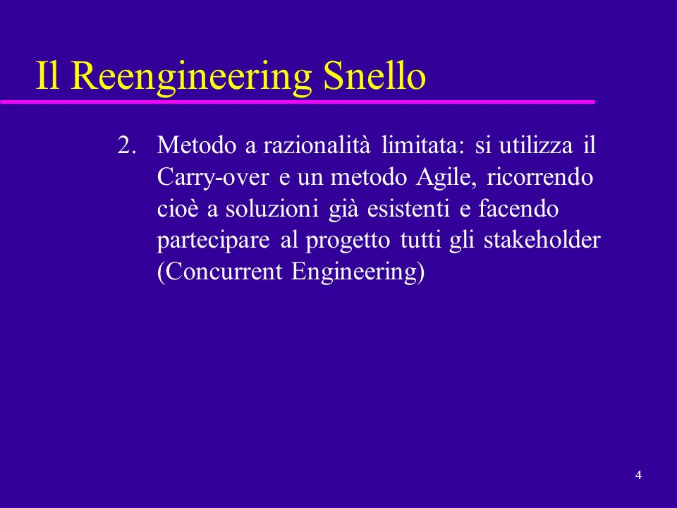 Il Reengineering Snello