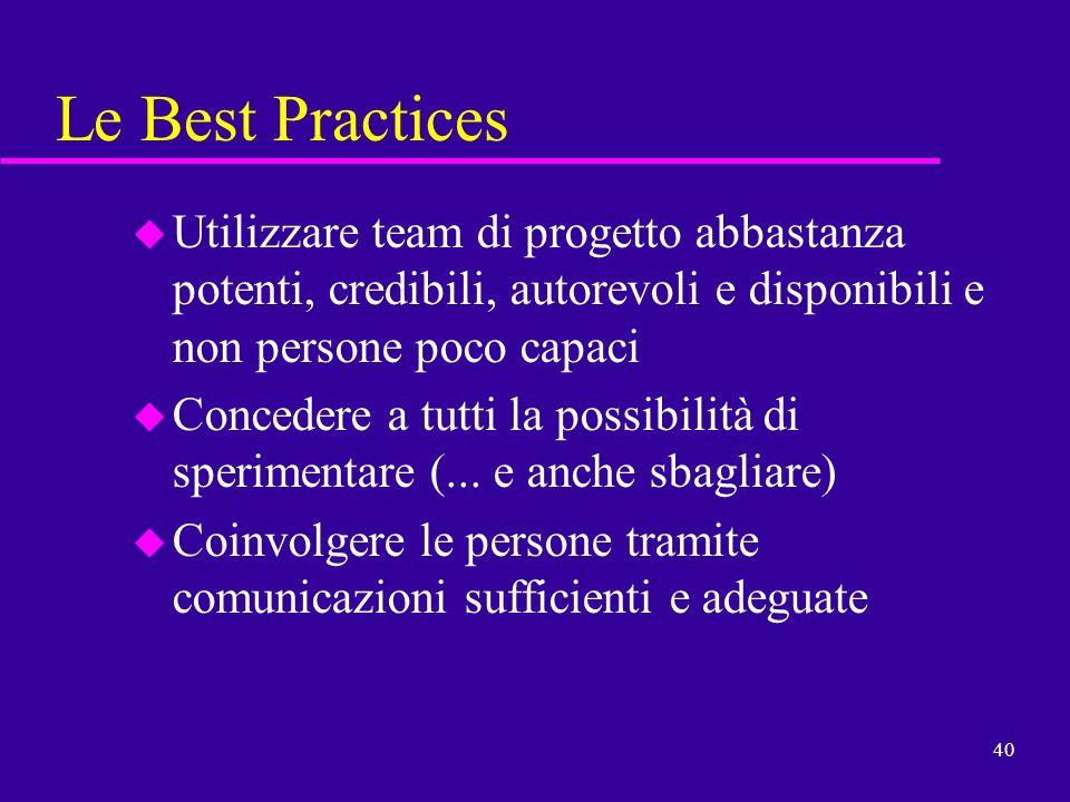 Le Best Practices Utilizzare team di progetto abbastanza potenti, credibili, autorevoli e disponibili e non persone poco capaci.