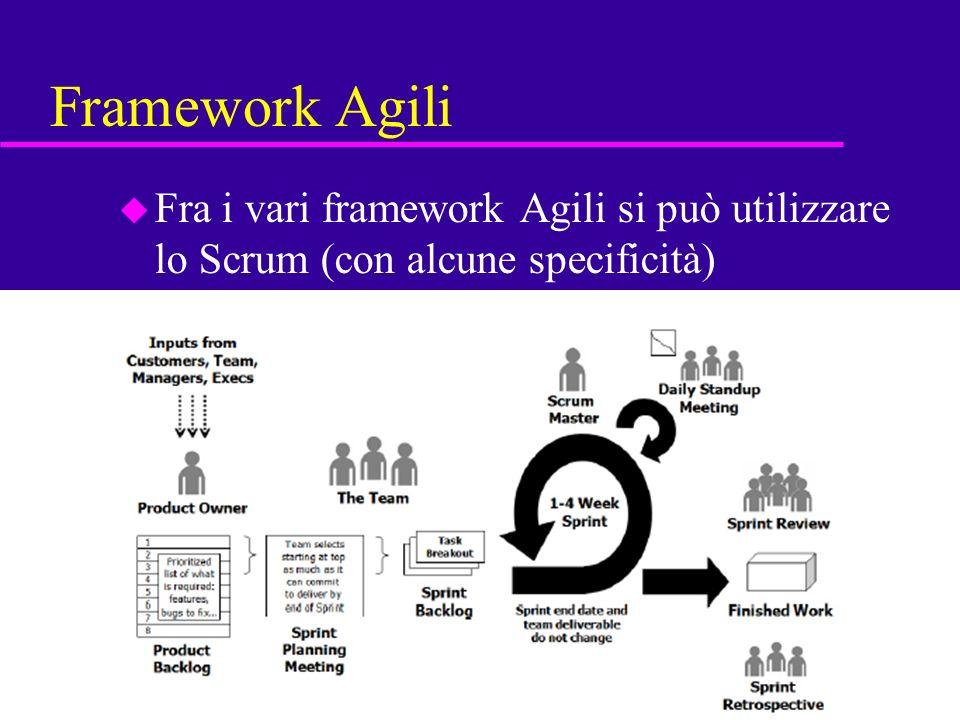 Framework Agili Fra i vari framework Agili si può utilizzare lo Scrum (con alcune specificità)